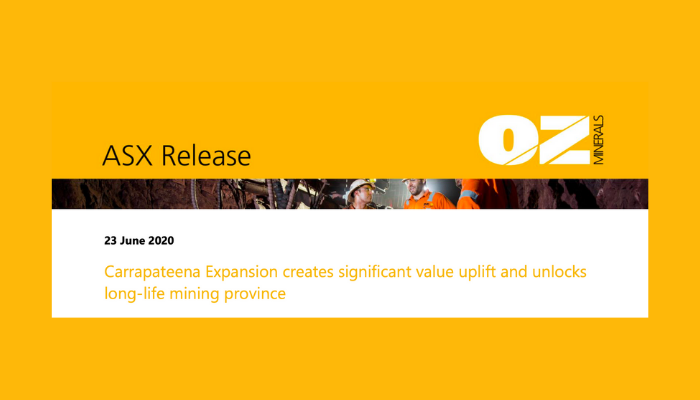 OZ Minerals – Carrapateena Expansion ASX releases